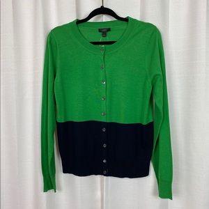 J Crew Green&Blue Colorblock Wool Cardigan Sz.L